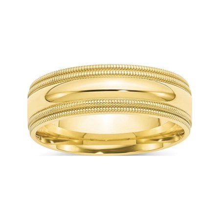 USA - 10k Yellow Gold 7mm Double Milgrain Comfort Fit Band Size 9 - image 3 of 3