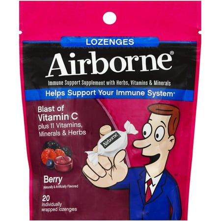 Immune System Lozenge (2 Pack - Airborne Berry Flavored Lozenges,1000mg of Vitamin C - Immune Support Supplement 20 ct)