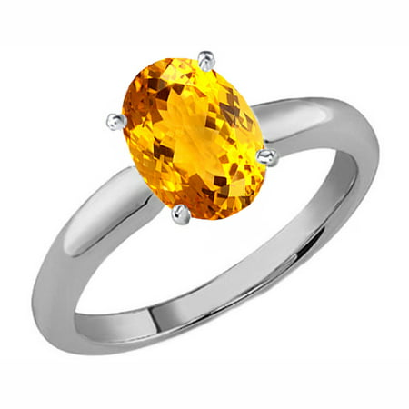 1.00 Carat (ctw) Sterling Silver Oval Cut Citrine Ladies Solitaire Bridal Engagement Ring 1 (Oval Cut Citrine Ring)