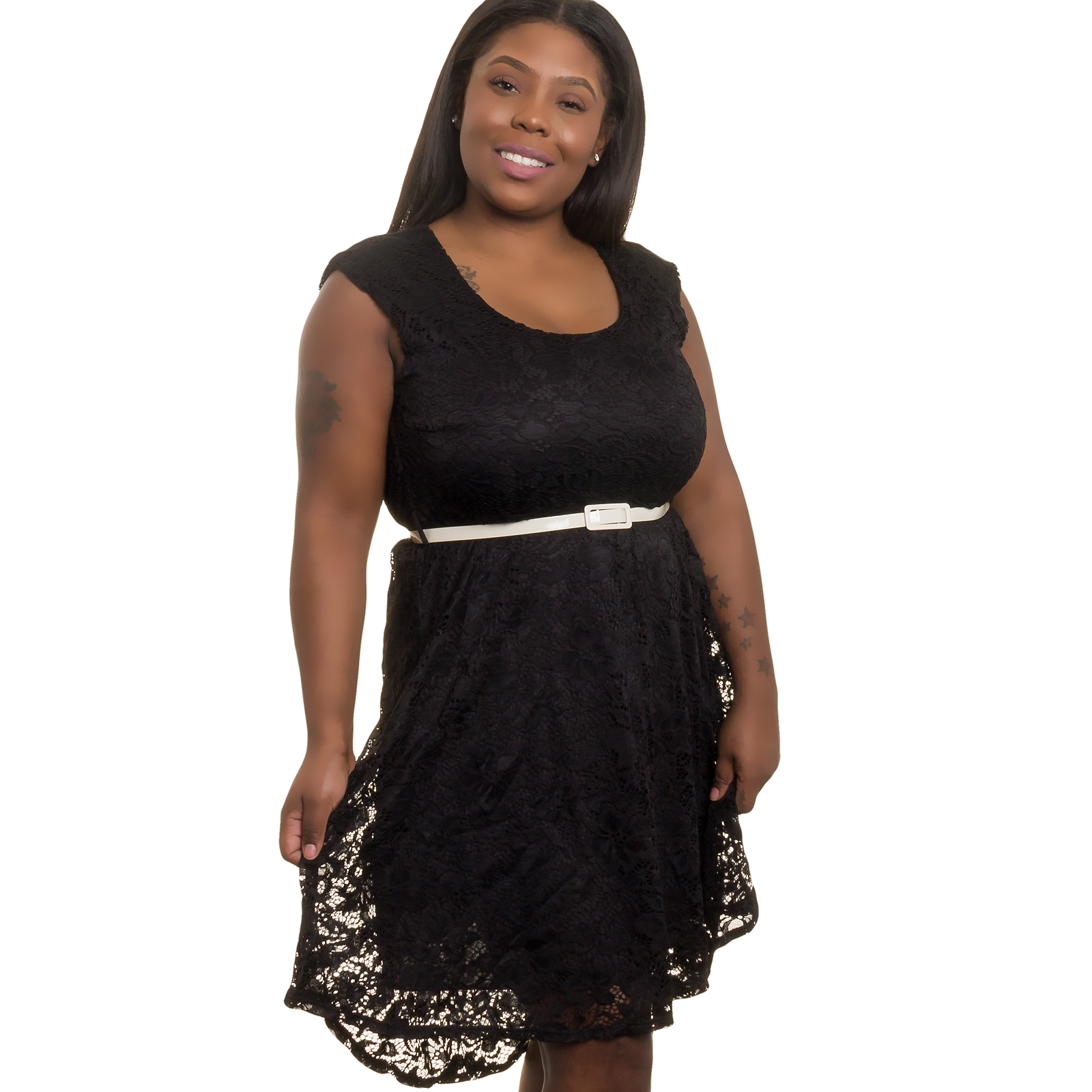 SILVER LILLY NEW Women Junior Plus Size Crochet Lace Evening Dress (Black, 2X)