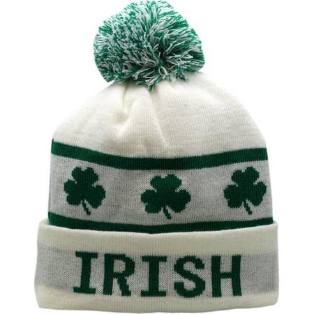 6789a9b62 Irish Cuffed Pom Knit Hat Shamrock White