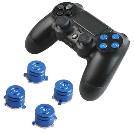 Replacement Standard Buttons Spare Parts Accessories for Modded PS4  Controller Metal Bullet Buttons -Blue