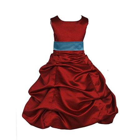 Ekidsbridal Apple Red Satin Pick-Up Bubble Flower Girl Dress Junior Bridesmaid Dress Pageant Gown Easter Summer Dresses Ballroom Gown Toddler Girl Dresses Evening Gown Special Occasion Dresses 806S