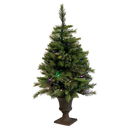 Vickerman 3.5' Prelit Artificial Christmas Tree Mixed Pine Cashmere Potted - Multi-Color Lights