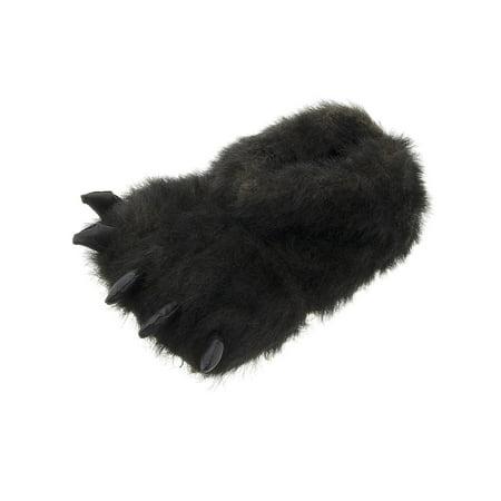 SG Footwear Men's Black Bear Paw Plush Slippers (Best Footwear For Flat Feet)