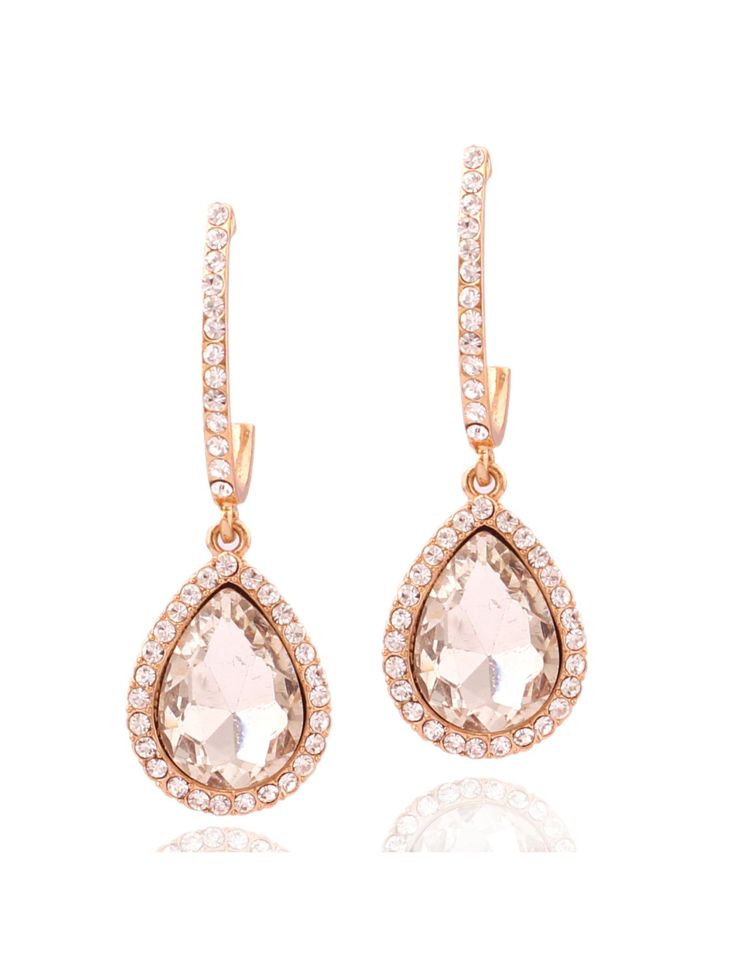 Girls BLISS TOWN 18K Flower Rose Gold Earrings for Women