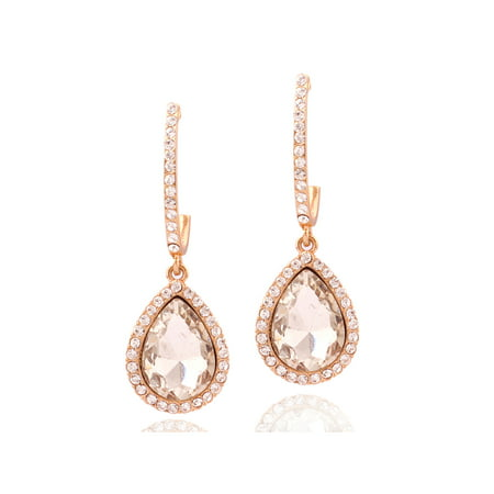 Womens Earrings Rose Gold Teardrop - Akoya Womens Earring