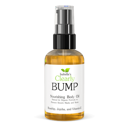 Isabella's Clearly BUMP, Natural & Organic Body Elasticity Oil to Fade and Prevent Stretch Marks and Scars. Perfect for Moms to Be (4 Oz)