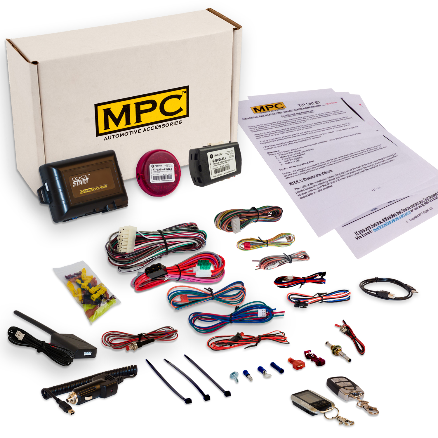 Complete 2-Way Remote Start Kit For 2014 Push-To-Start Honda Civic Automatic