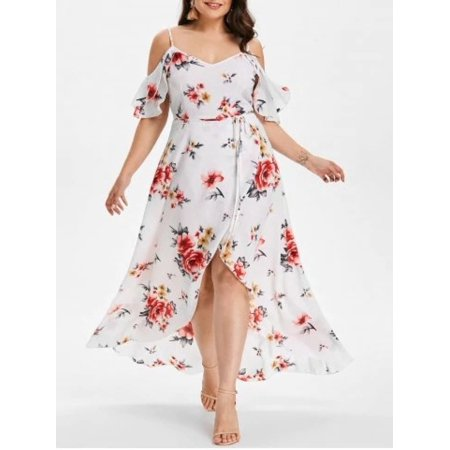 Plus Size Women Print Spaghetti Strap Chiffon (Satin Trimmed Chiffon Dress)