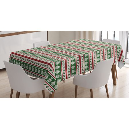 Christmas Decorations Tablecloth  Color Bands With Baubles Mistletoe Holly Dots Vintage Seasonal  Rectangular Table Cover For Dining Room Kitchen  60 X 90 Inches  Red Green White  By Ambesonne