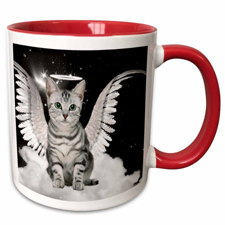 3dRose Gray Tabby Cat Angel Sitting on a Cloud with a cute Halo and Angel Wings - Two Tone Red Mug, 11-ounce](Halos And Wings)