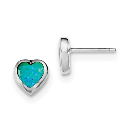 Roy Rose Jewelry Sterling Silver Synthetic Opal Polished Heart Post Earrings