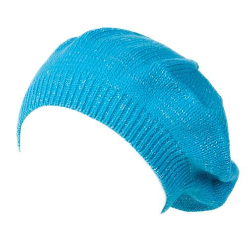 Womens Cable Knit Glitter Sheen Beret (2 PACK), Turquoise