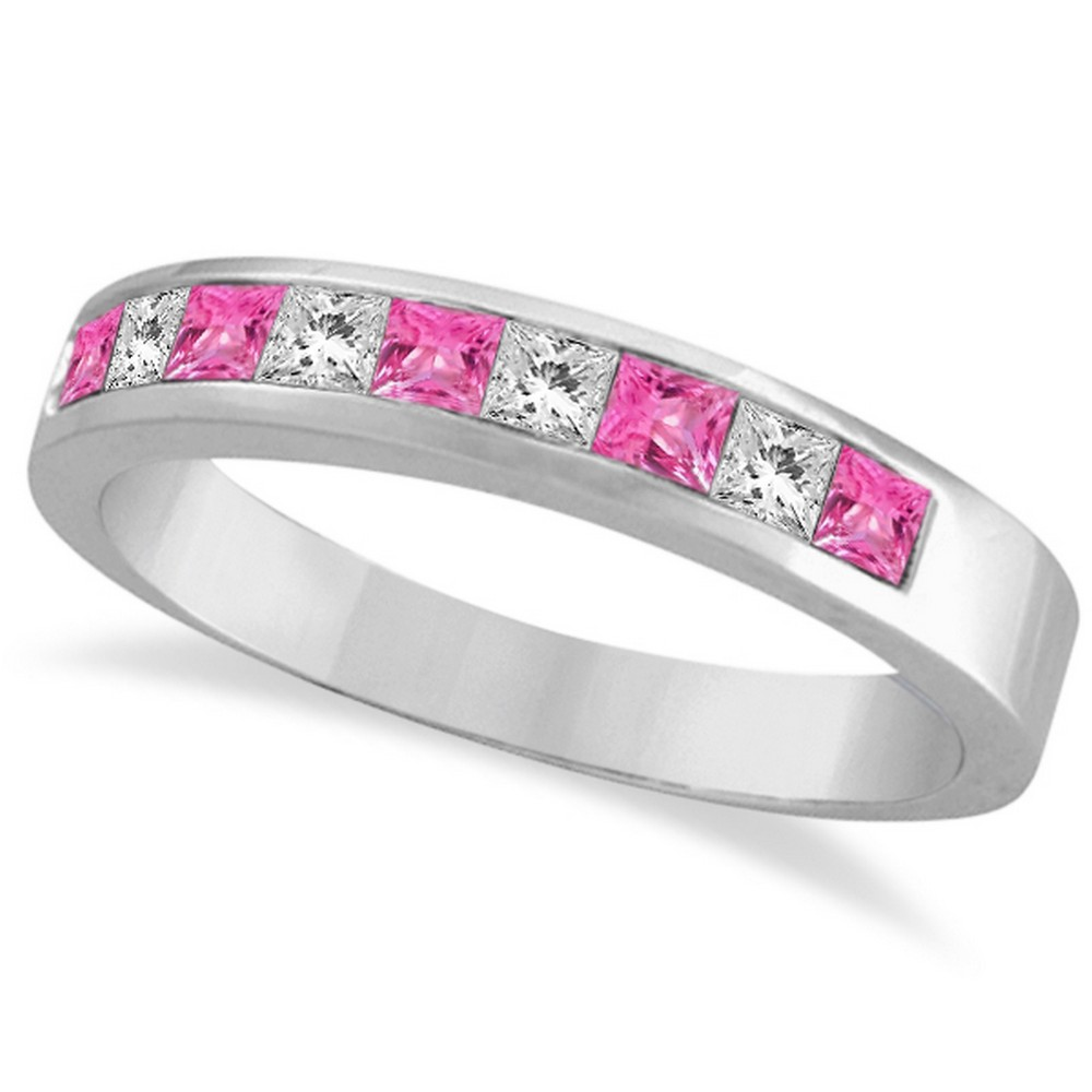 Gorgeous Womens Bridal Princess Pink Sapphire Crystal Yellow Gold Eternity Rings