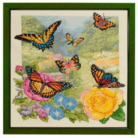 Bucilla Heirloom Collection Butterfly Garden 14 Inch By 14 Inch
