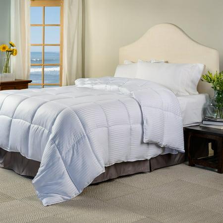 All Season Stripes White Down Alternative Comforter King