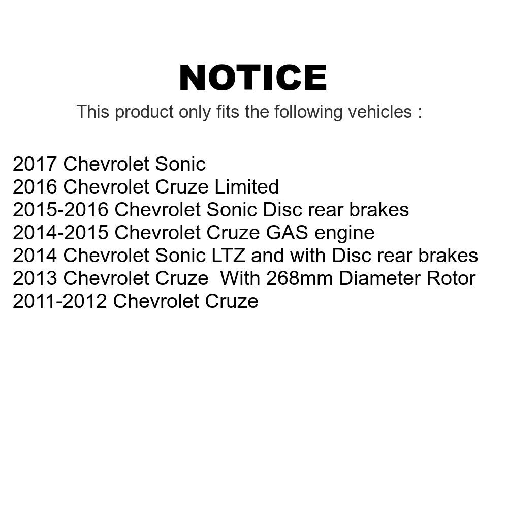 Disc Rotors /& Semi-Metallic Brake Pad Kit For Sonic Cruze Limited Cruze