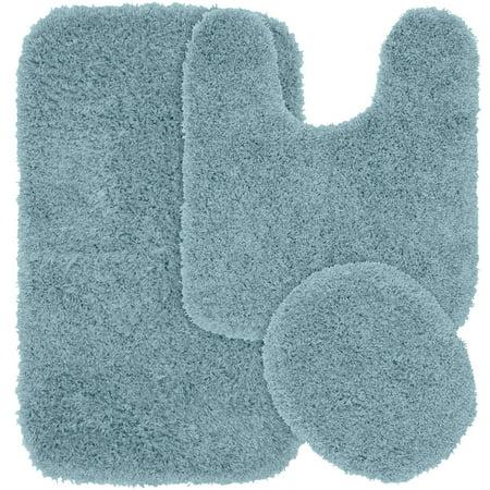 3 Piece Jazz Shaggy Nylon Washable Bathroom Rug Set, Basin Blue