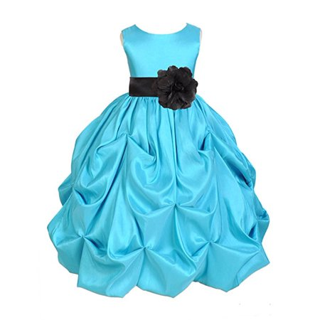 Ekidsbridal Pool Blue Satin Taffeta Pick-Up Bubble Flower Girl Dresses Junior Toddler Formal Special Occasions Wedding Pageant Dresses Ball Gown Dance Recital Reception Birthday Girl Party - Toddler Girl Dress Up