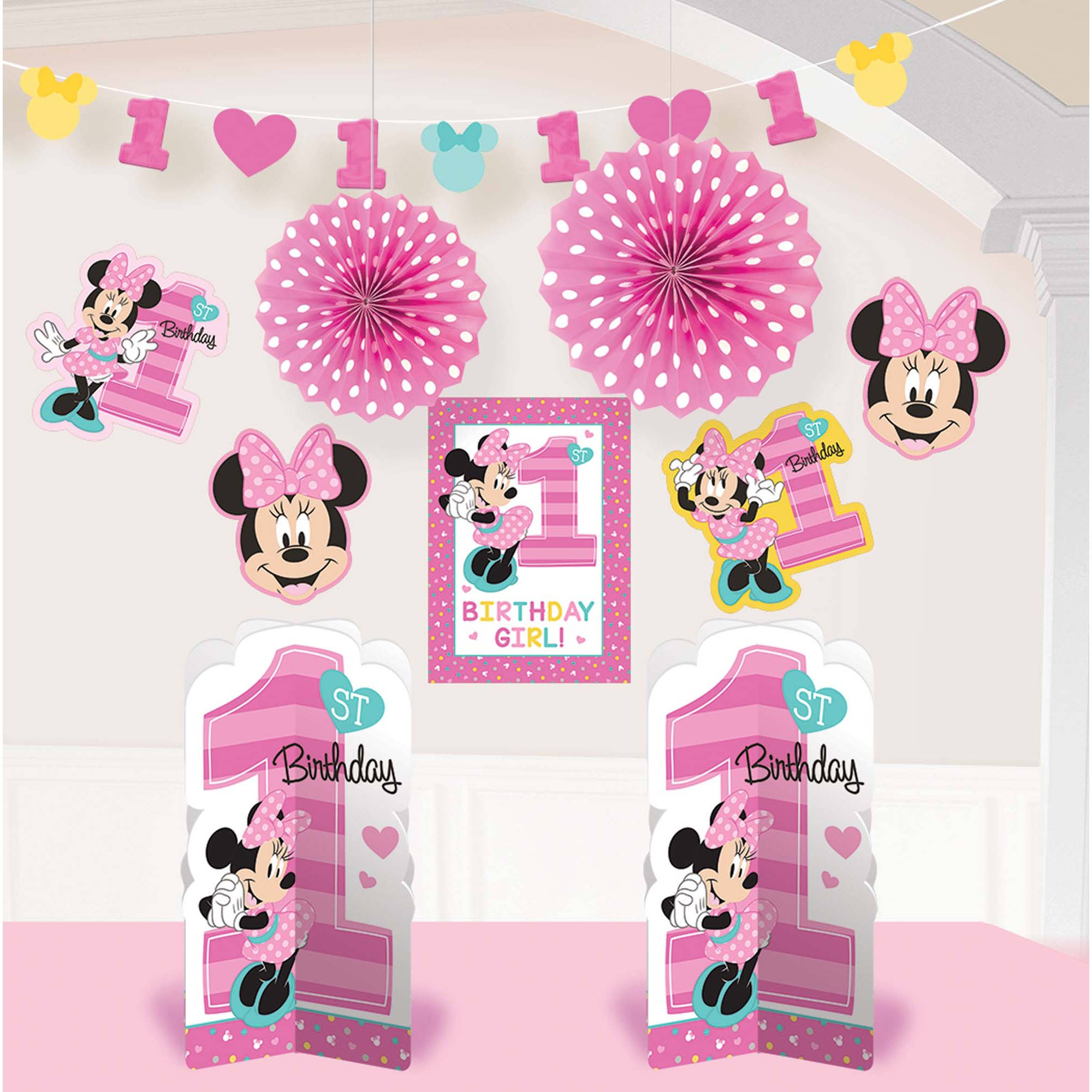 Disney Minnie's Fun to Be One 1st Birthday Party Room Decorations, 10pc