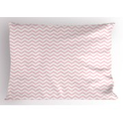 Rose Pillow Sham Horizontal Zigzag Stripes Old Fashioned Chevron Simple Sixties Seventies Design, Decorative Standard Size Printed Pillowcase, 26 X 20 Inches, Rose and White, by Ambesonne
