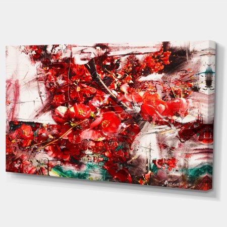 Red Flowers Texture Watercolor - Large Abstract Canvas Artwork - image 2 de 4