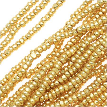 Chrome Terra Single (Czech Single Cut Charlotte Seed Beads 13/0 Metallic Gold Terra 1/2 Hank )