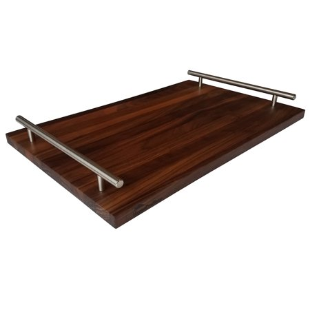 HomeProShops Wood Serving Tray Cheese Board w 2 Steel Bar Pull Rail Handles - 3/4