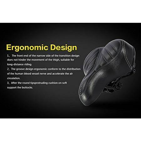 WALFRONT High Quality Comfort Wide Big Bum Mountain Road Bike Bicycle Sporty Soft Pad Saddle Seat Black,Bicycle Soft Pad - image 6 de 7