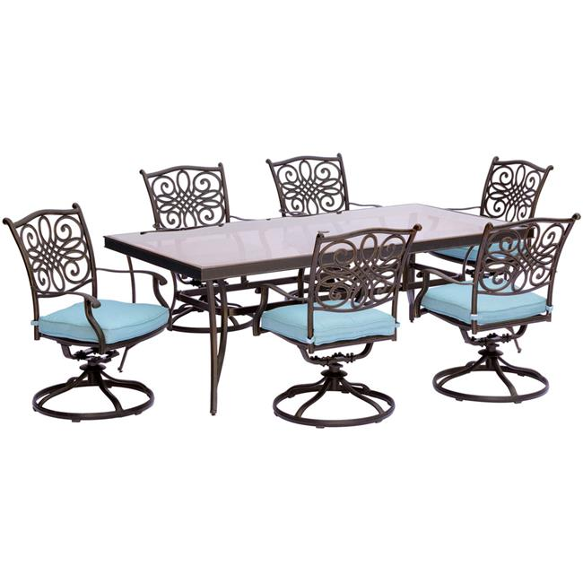 Traditions Dining Set with Swivel Chairs & Glass Table - 7 Piece, Blue