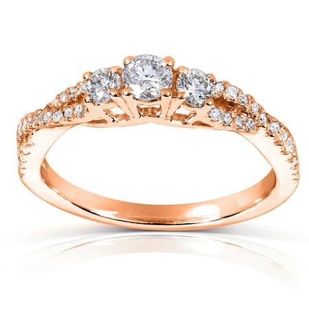 Round-cut Three-Stone Braided Diamond Ring 2/5 Carat (ctw) in 14k Rose Gold