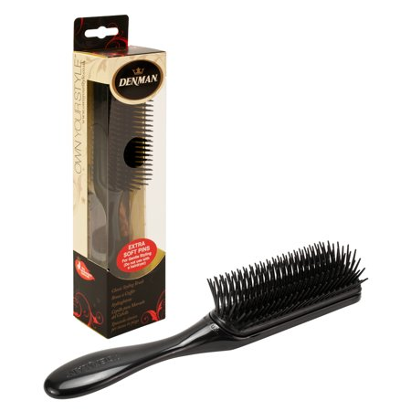 Denman Extra Soft Pins Classic Styling Hair Brush, BLACK,