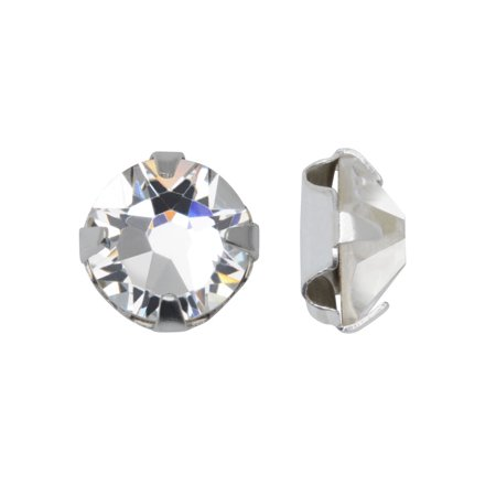 Swarovski Crystal, #53102 Rose Montees SS30 6.5mm, 12 Pieces, Crystal / Silver Plated