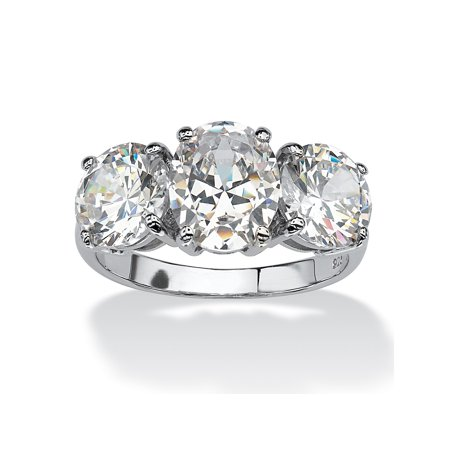 6.54 TCW Oval Cut Cubic Zirconia Platinum over Sterling Silver 3-Stone Bridal Engagement (Oval Cut Cubic Zirconia Ring)