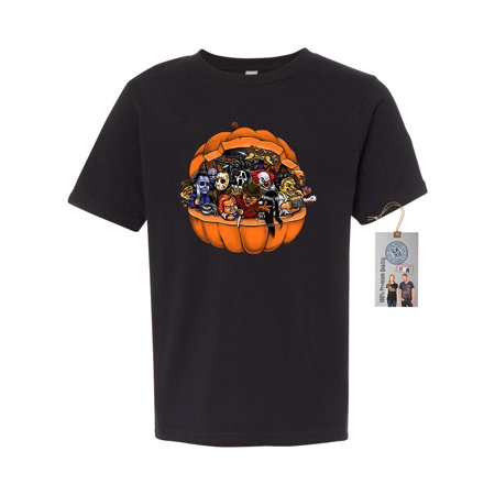 Pumpkin Youth T-shirt (Pumpkin Halloween Scary Characters Sarcastic Youth Short Sleeve T-Shirt )