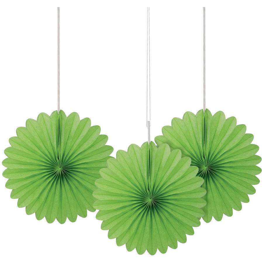 "6"" Lime Green Tissue Paper Fan Decorations, 3ct"