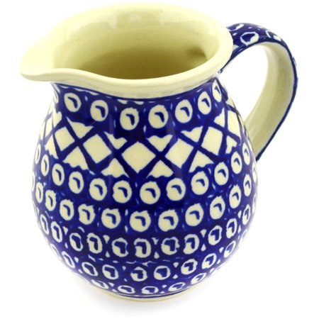 Polish Pottery 14 oz Pitcher (Lattice Peacock Theme) Hand Painted in Boleslawiec, Poland + Certificate of Authenticity