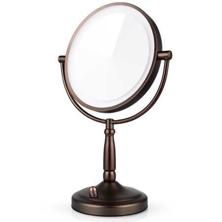 Miusco Wall Mounted Lighted Makeup Mirror Two Sided 7x Magnification Adjule Led 8