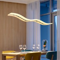 Modern LED Pendant Light Unique Wave Design Chandelier Hanging Light Fixture Dimmable Fixture Ceiling Light for Restaurant Living Dining Room Island Bedroom,with Remote Control