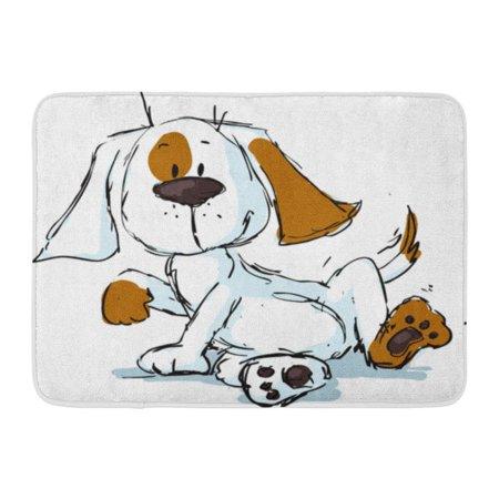 GODPOK Domestic White Big Cute Spotty Dog Cartoon Black Sketch Animal Doodle Rug Doormat Bath Mat 23.6x15.7 (Jansport Big Student Black And White Doodle)