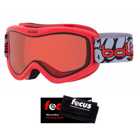 Bolle Volt Snow/Ski Goggles (Red Grafitti) and Cleaning Cloth (Cleaning Goggles)