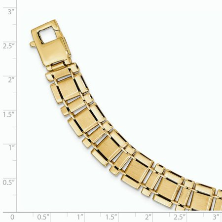 14K Yellow Gold Brushed & Polished Link 8.5in Bracelet - image 1 of 2