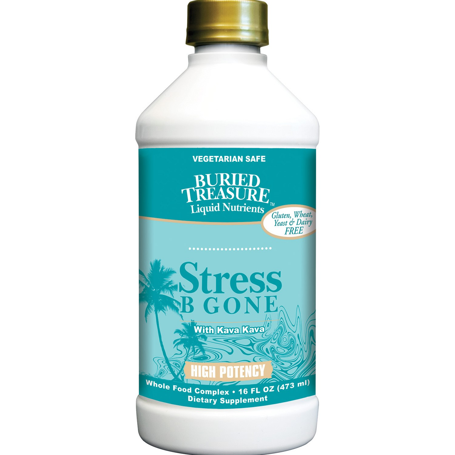 Buried Treasure Stress B Gone with Kava Kava Liquid, 16 Fl Oz
