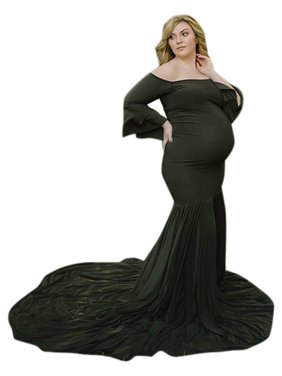 Womens Off Shoulder Beach Party Maternity Maxi Dress