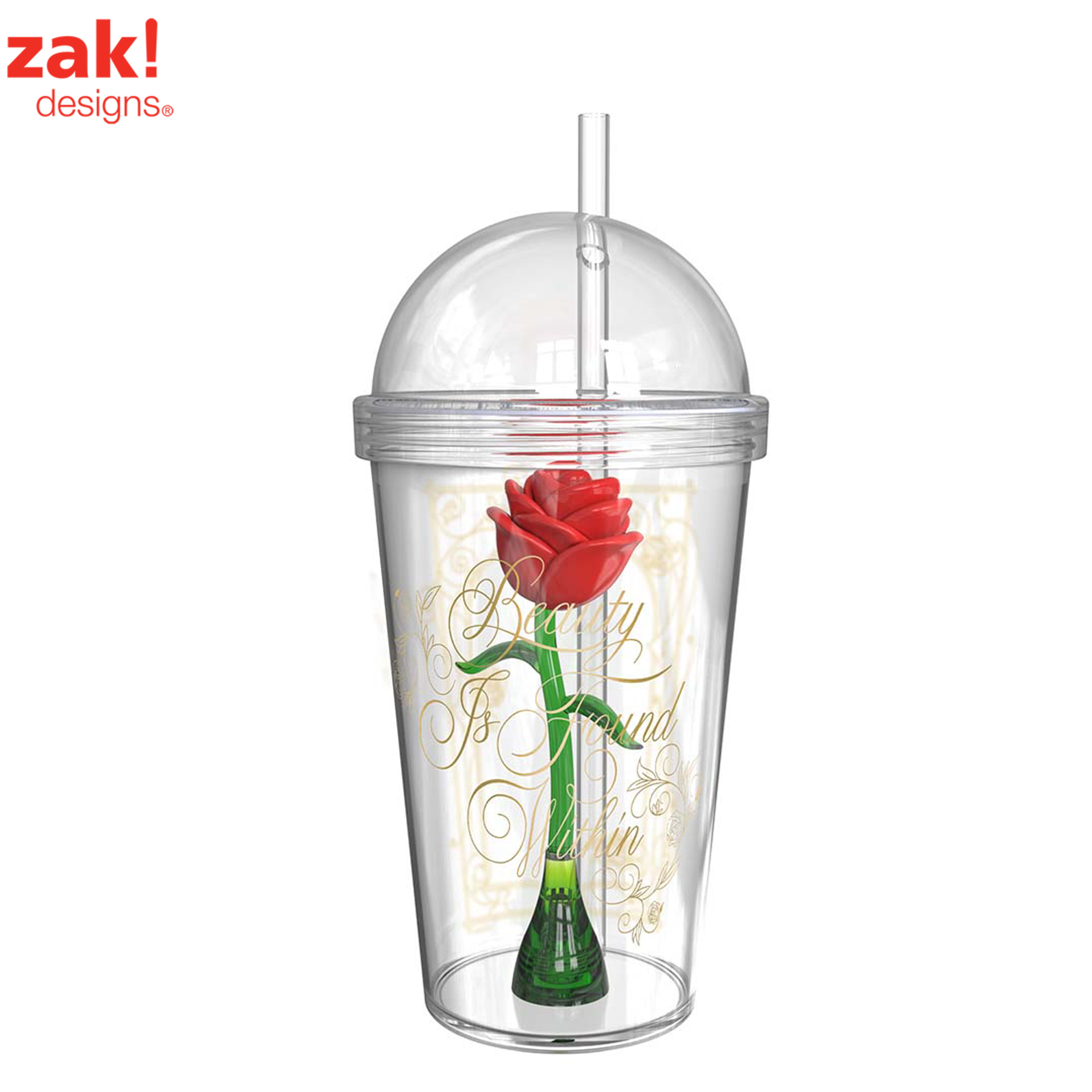 Zak! Designs Beauty And The Beast Enchanted Rose Kid's Tumblers 23 oz.