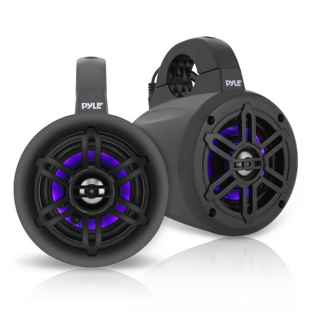 Pyle PLMRLEWB46B - Waterproof Rated Marine Tower Speakers - Wakeboard Subwoofer Speaker System with Built-in LED Lights (4'' -inch, 300 Watt)