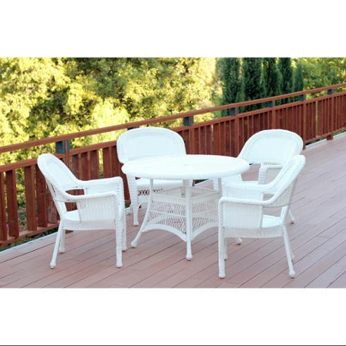 5-Piece White Resin Wicker Chairs and Table Outdoor Patio Dining Furniture Set by CC Outdoor Living