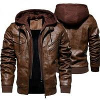 Men's Fashion Jackets Collar Slim Motorcycle Leather Jacket Coat Outwear Warm Hooded Coat Jackets M-4XL