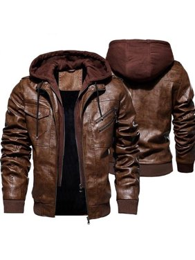 Men's Fashion Jackets Collar Slim Motorcycle Leather Jacket Coat Outwear Warm Hooded Coat Jackets M-4XL